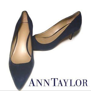 Ann Taylor Eryn Blue Suede Heels